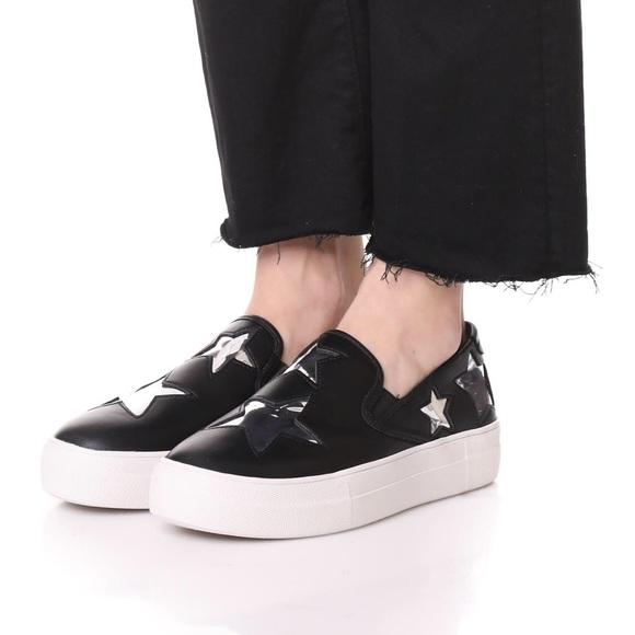 STEVEN BY STEVE MADDEN Womens /'Gaia/' Stars Black Slip On Sneakers Sz 7.5